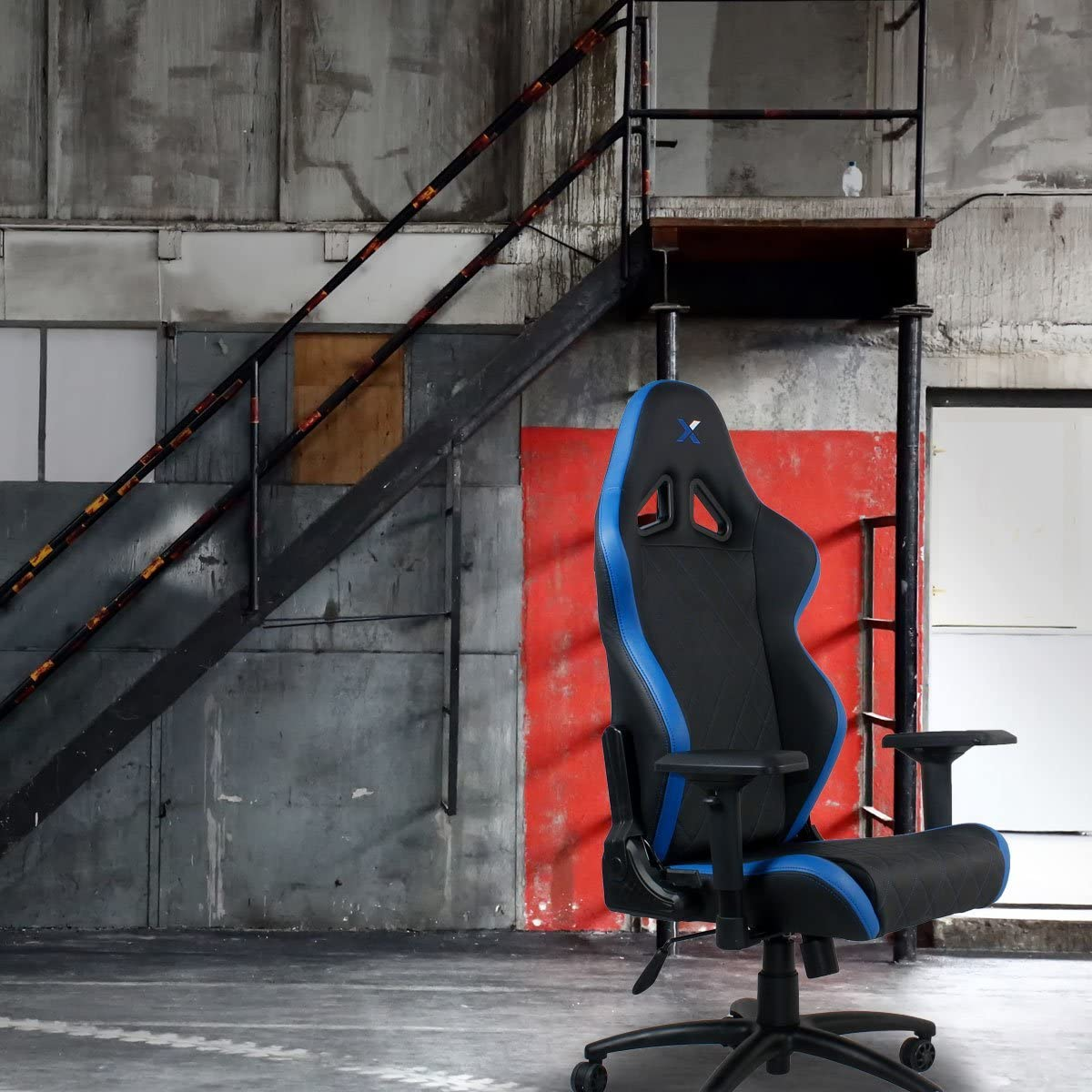Ferrino Line Red on Black Diamond Patterned Gaming and Lifestyle Chair by RapidX RX-FER001BLRED