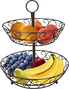 Sorbus 2-Tier Countertop Fruit Basket Holder & Decorative Bowl Stand—Perfect for Fruit, Vegetables, Snacks, Household Items, and Much More (Bronze)