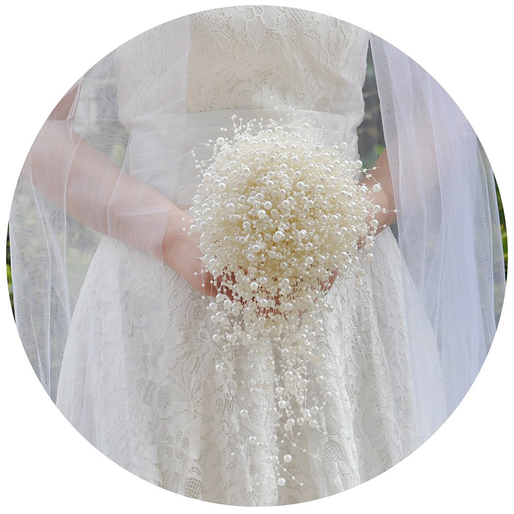 ulapanのウェディングBouquets、ブライダルBouquetsブライダルCorsages、アイボリー真珠Wedding Bouquets、f24 One Size ULA-F24-180428-birde B07CPVM52D Bridal Bouquet