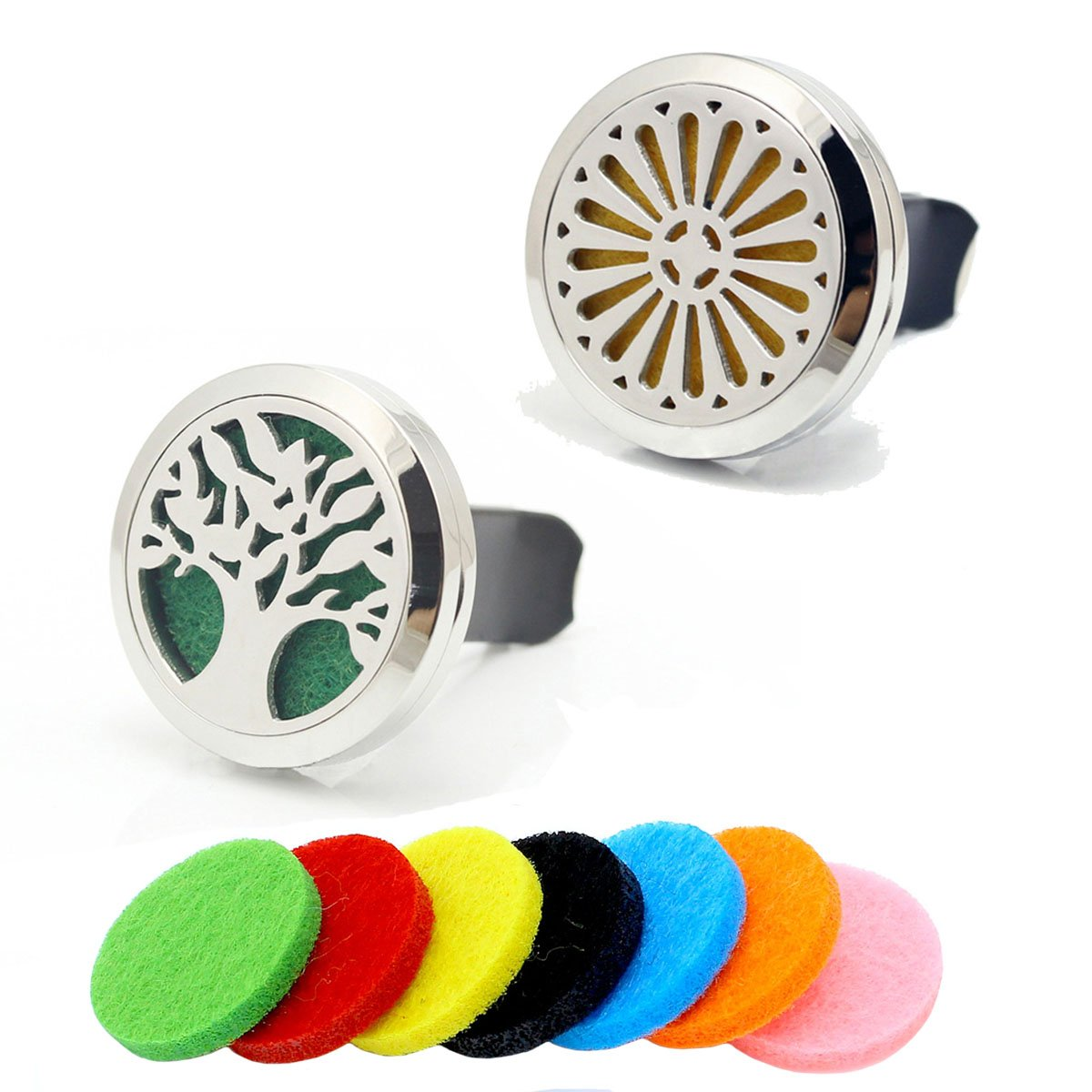 2pcs (Tree of Life + Flower) Stainless Steel Vent Clip Car Locket Aromatherapy Essential Oil Diffuser