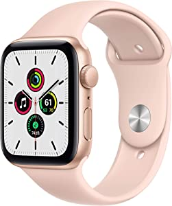 Apple Watch SE (GPS, 44mm) - Gold Aluminum Case with Pink Sand Sport Band (Renewed)