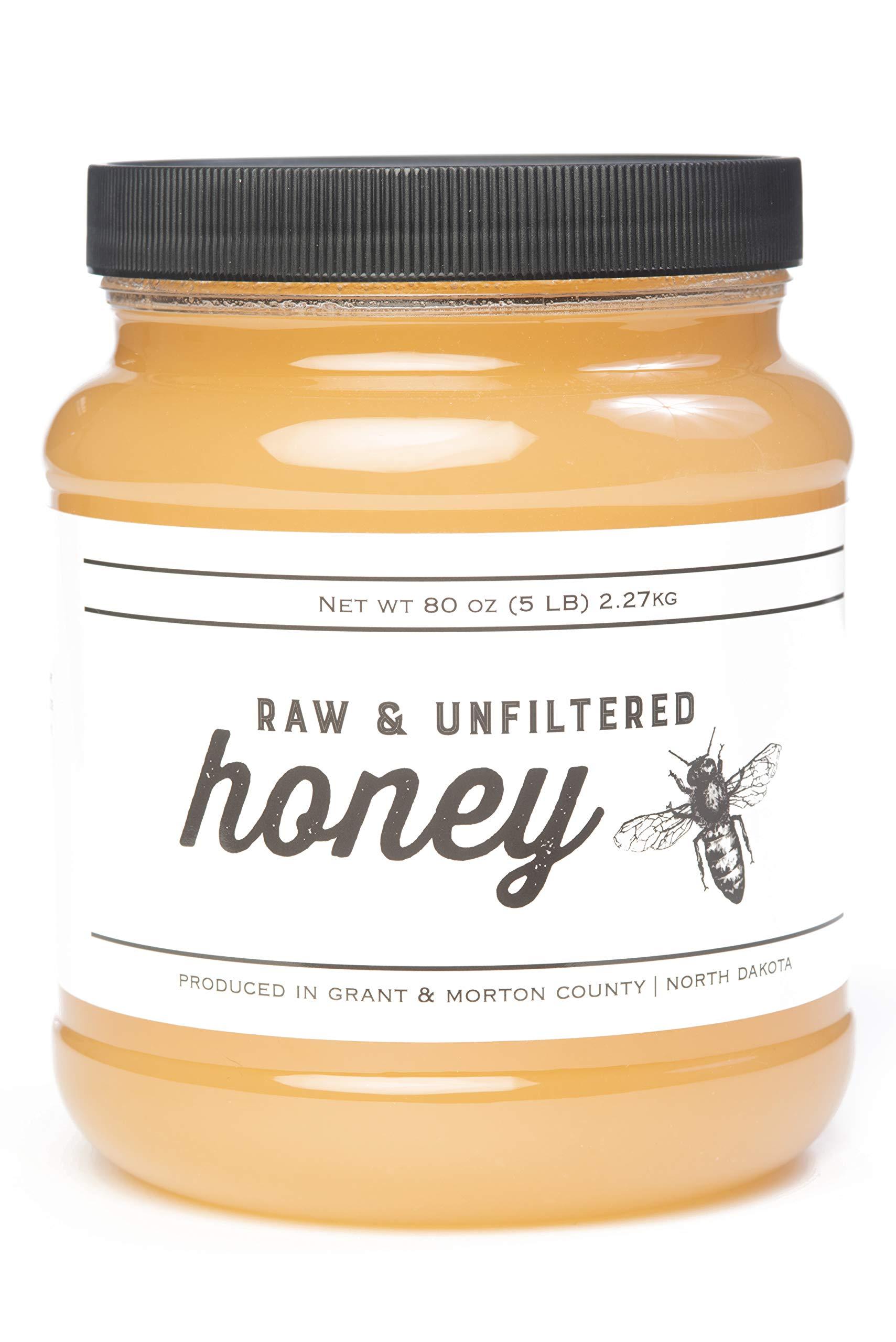 TJO Bees Raw and Unfiltered Honey (5 LB (80 OZ) Jar)