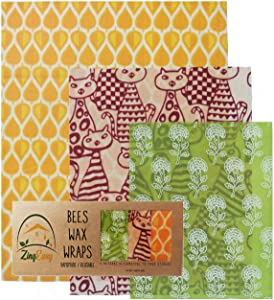 Beeswax Wrap - Handmade with Sustainable Wild Harvested Beeswax - Plastic-free 3 Pack Beeswax Reusable Food Wraps - Zing Easy Eco-Friendly Plastic Wrap Alternative
