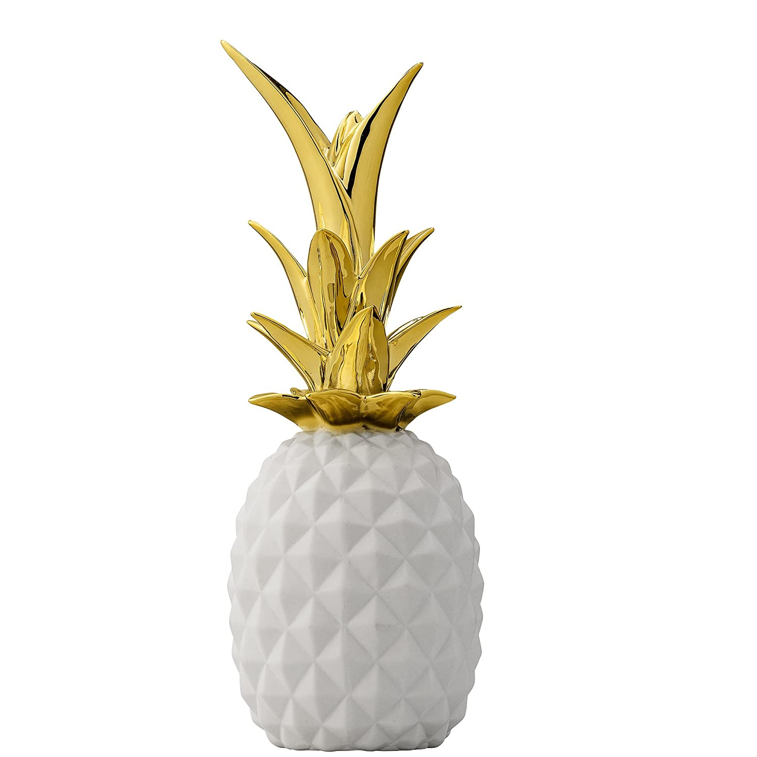 White and Gold Ceramic Pineapple Amazon.in Home & Kitchen