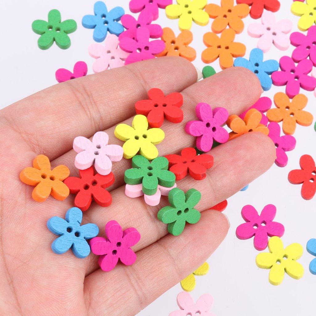 100pz Bottoni In Legno Di Modello Colorato Per Il Cucito Scrapbooking DIY Mestiere