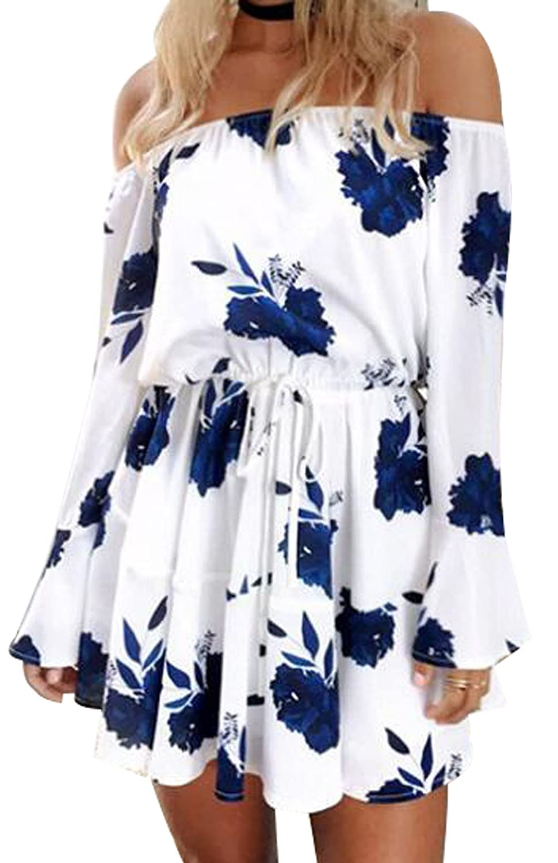 bluee MAXIMGR Women's Summer Off Shoulder Floral Print Playsuit Long Sleeve Short Jumpsuit