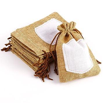 pcs bolsa de organza arpillera bolsitas de tela de saco con etiqueta para regalo decorar boda