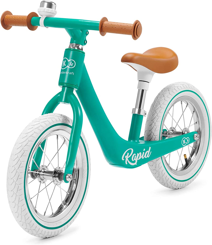 Kinderkraft Bicicleta sin Pedales RAPID, Sólida, Segura, Ajustable, Retro, Verde