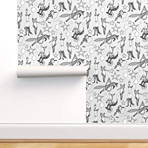 Spoonflower Pre-Pasted Removable Wallpaper, Fox Black White Circus Nursery Decor Kids Room and Baby Retro Print, Water-Activated Wallpaper, 24in x 108in Roll