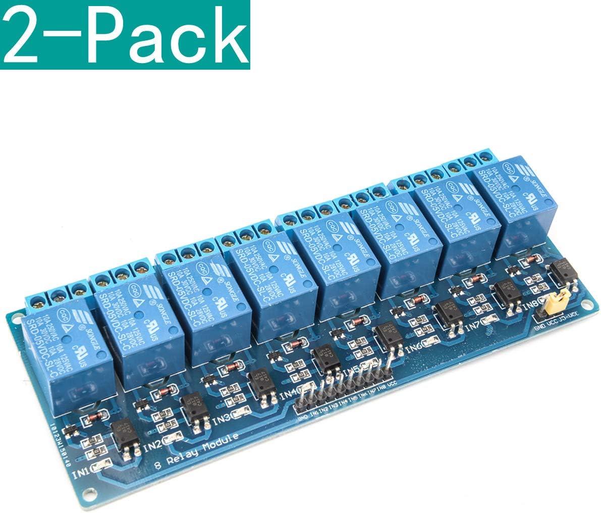 YOUMILE 2 Pack 8 Canales DC 5V Módulo de relé con optoacoplador ...