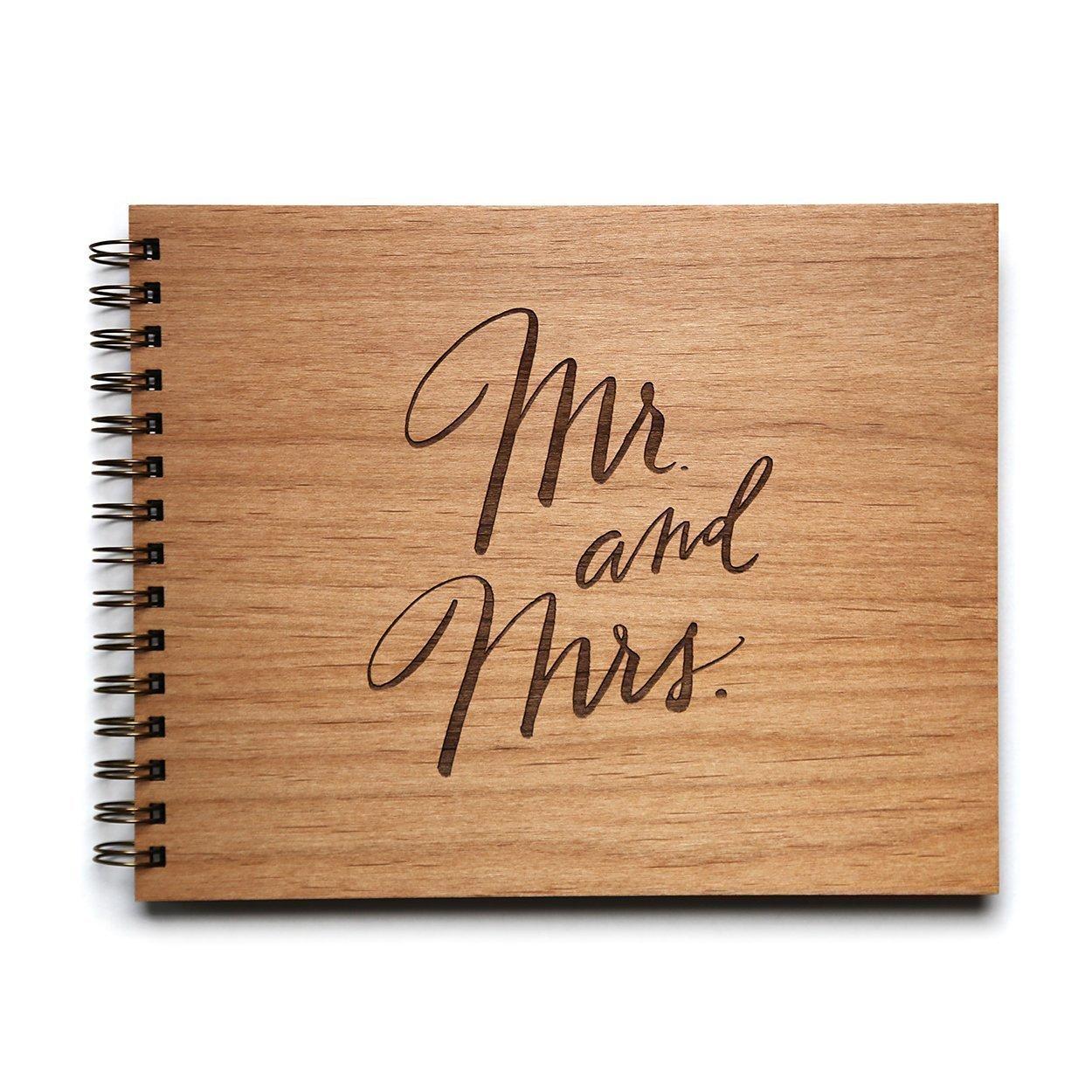 Mr. & Mrs. Laser Cut Wood Wedding Guestbook (Handmade/Wedding Album)