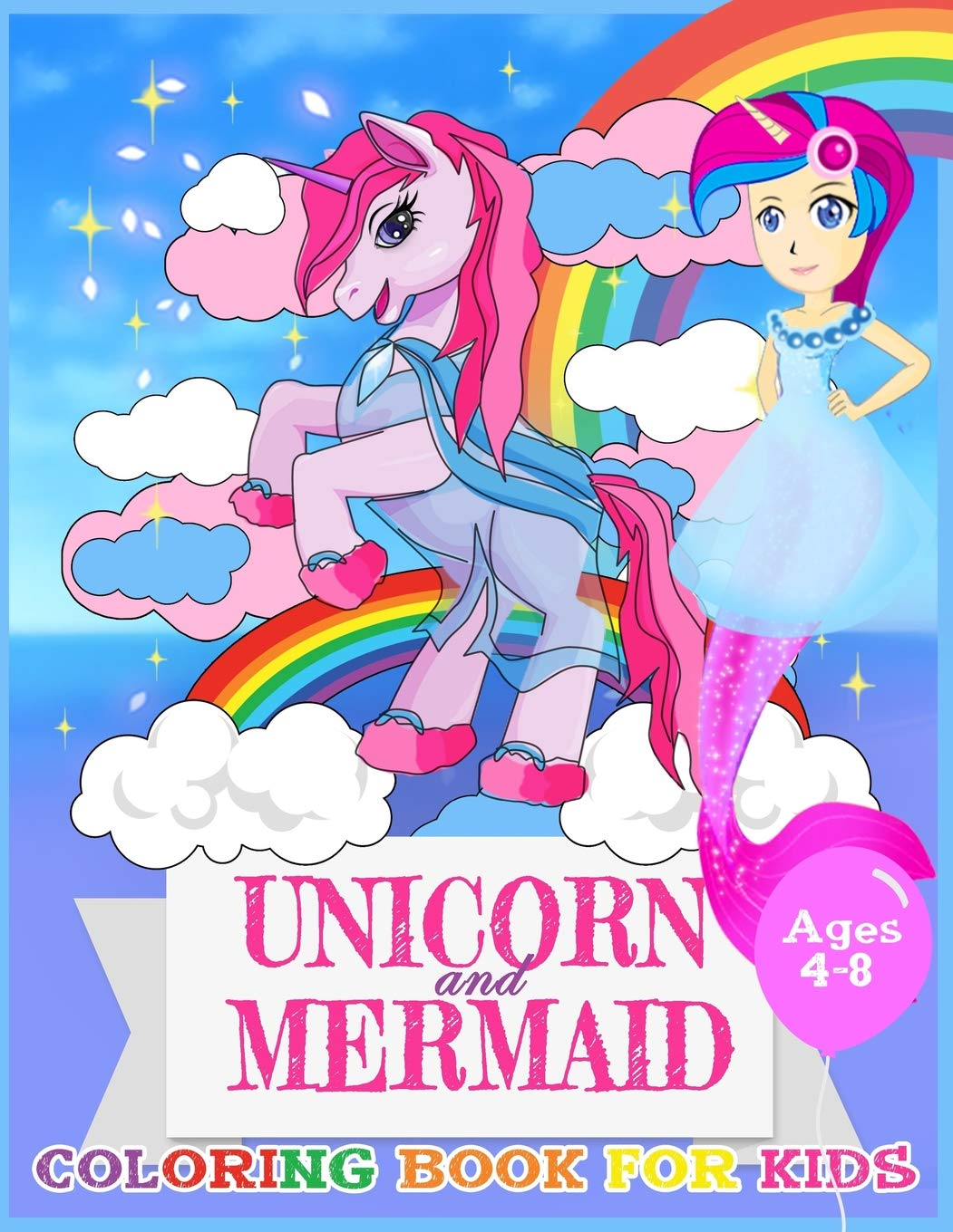 Unicorn And Mermaid Coloring Book For Kids Ages 4 8 Coloring Page
