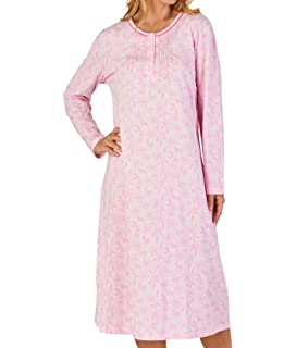 18da9cc631 Slenderella Ladies Floral Meadow Jersey Cotton Nightdress Long Sleeved  Nightie (3 Colours)