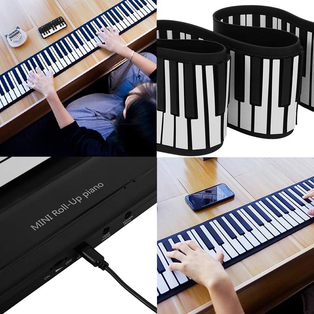 WM Roll Up Piano Teclado Portátil 88 Teclas Silicona Flexible ...