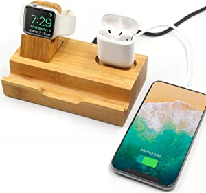 WISION 3-Port Bamboo Charging Station Desk Dock Stock Cradle Holder Organizer, Charging Stand for Universal Multi Device, Compatible AirPods/Apple Watch/Cell Phone with Case