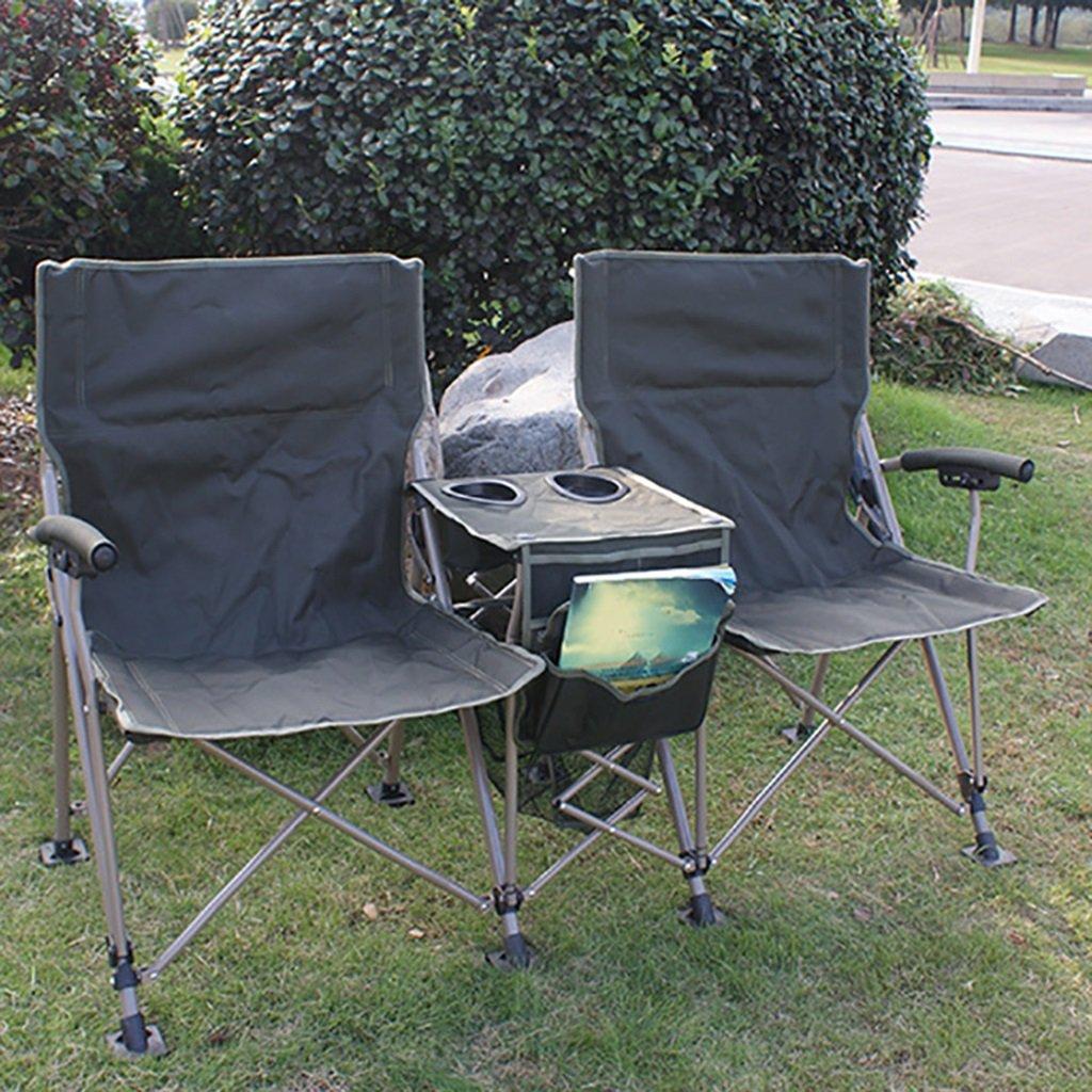 Klappstuhl Tragbare Doppelte Kampierende Stühle mit Getränkehalter, Grüner Strand-Aufenthaltsraum-Liegeplatz Freien