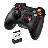 PC PS3 Gaming Controller, EasySMX Wireless 2.4G Gamepads with Vibration Fire Button Support PC, PS3, Android, Vista, TV Box Portable Gaming Joystick Handle (Black and Red)