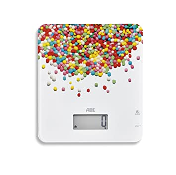 ADE Báscula de cocina digital KE1720 Candy. Diseño actual. Pantalla LCD. Capacidad 5Kg. Tara. Sensor al tácto.Támbien para líquidos.