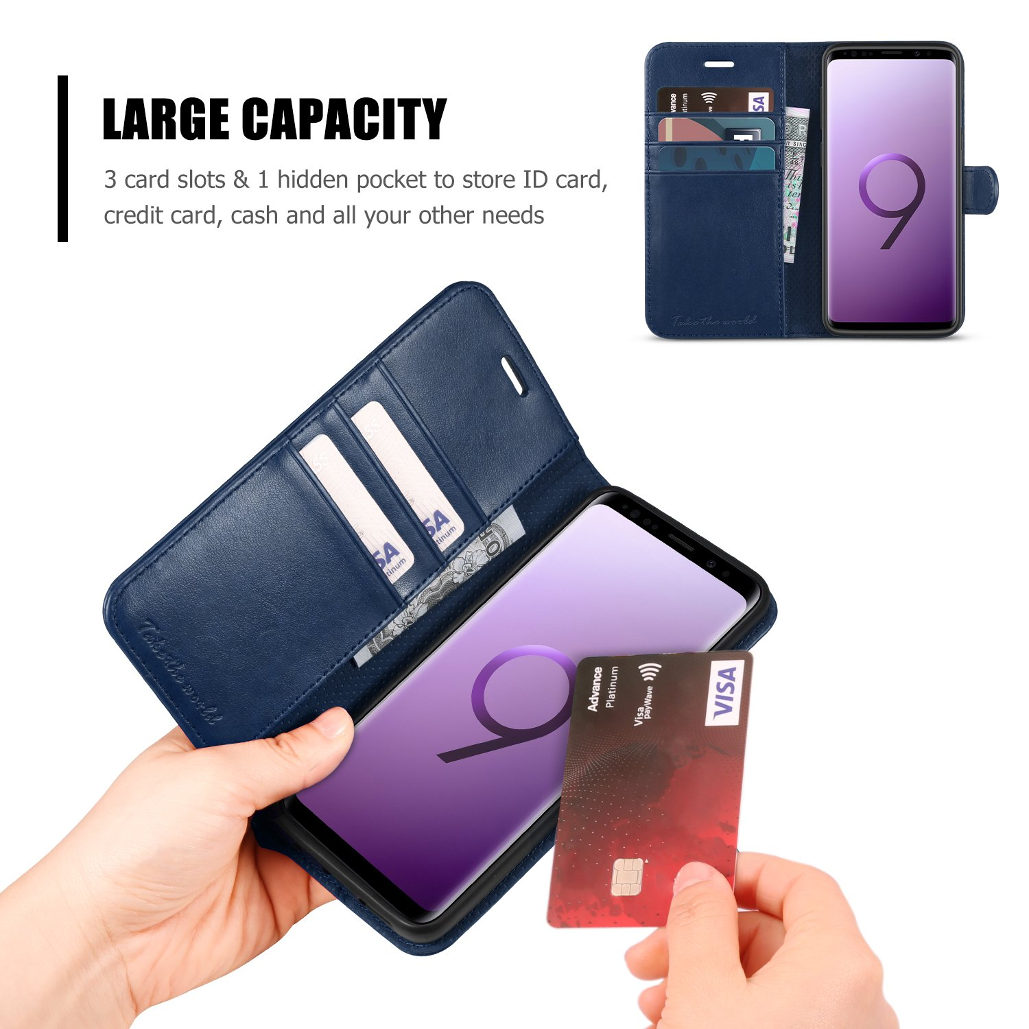 TUCCH Galaxy S9 Leather Case Wallet Case with Magnetic Clasp Compatible with Galaxy S9 Devices Blue Galaxy S9 Case Shock Absorbing Flip Case Cover with Stand Function Card Holder