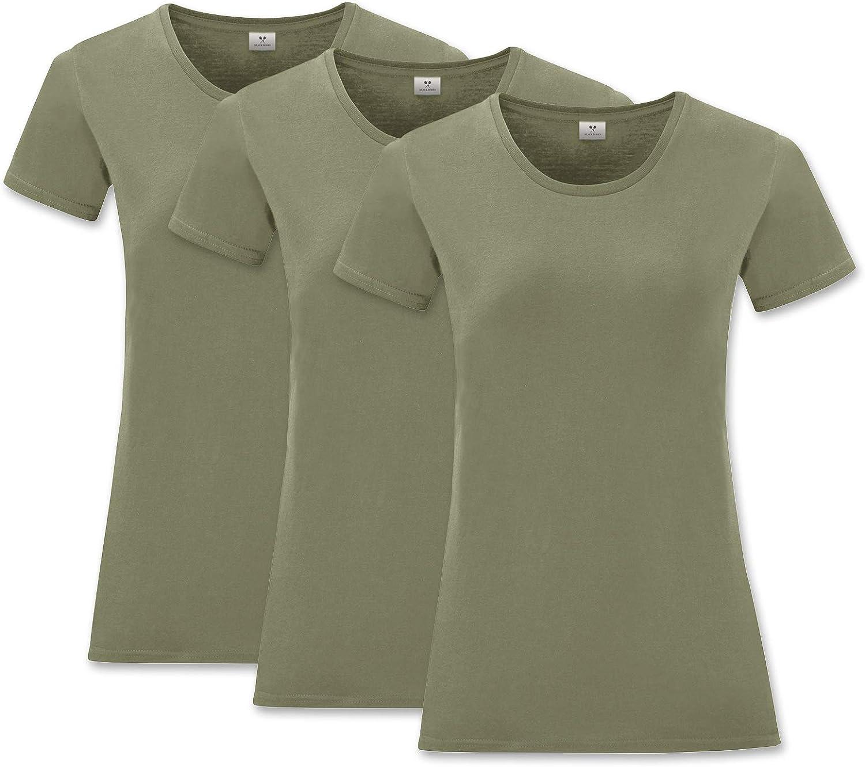 3er Pack Black Roses Basic Damen Slim T-Shirt Rundhals