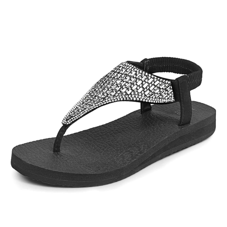 d88293b3604863 FITORY Womens Flip Flops Yoga Sling Rhinestones Flat Sandals Comfort Shoes  Size 6-11 Silver