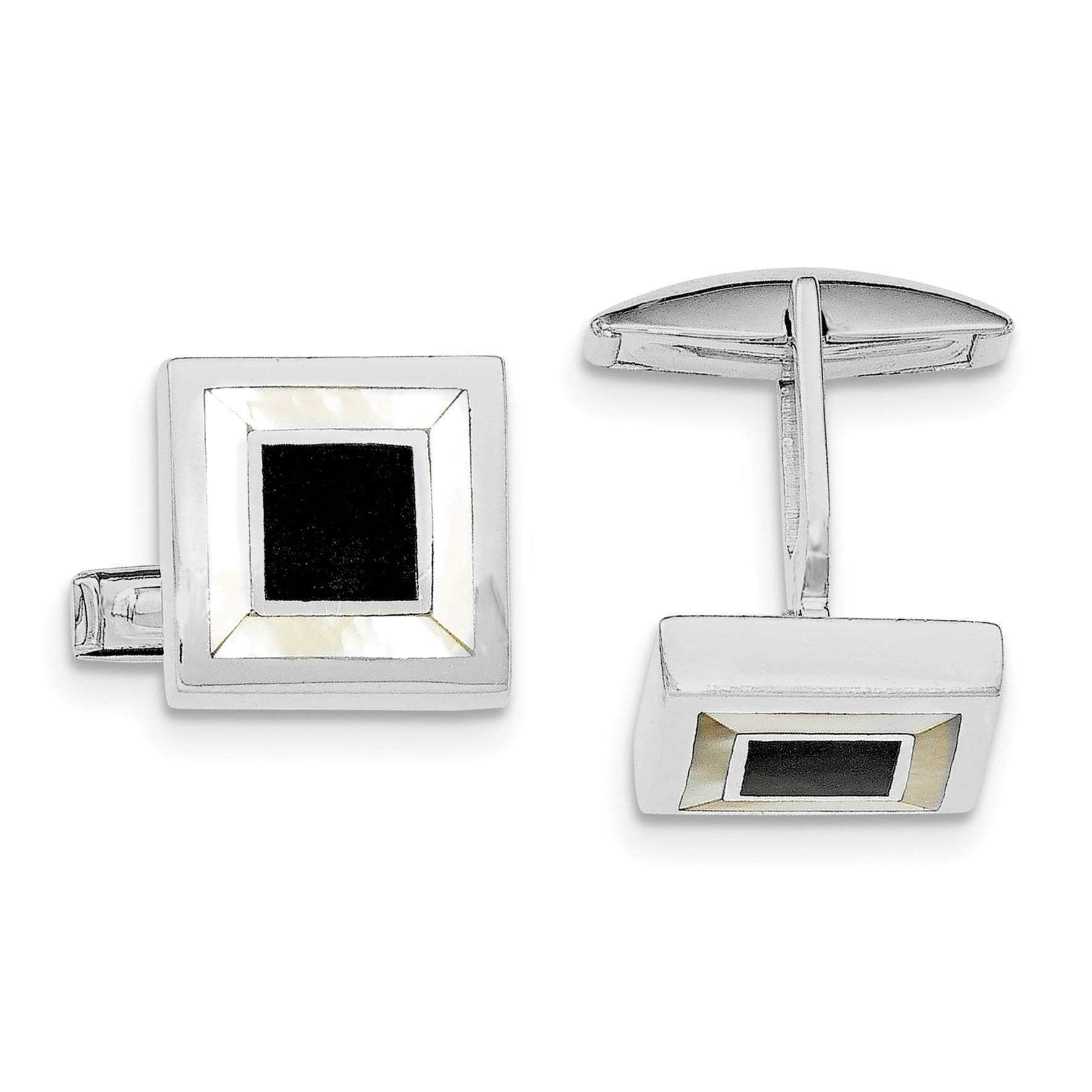 ICE CARATS 925 Sterling Silver Mother Of Pearl Enamel Cuff Links Mens Cufflinks Link Man Fine Jewelry Dad Mens Gift Set