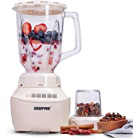 Geepas GSB5409 250W 2 in 1 Multifunctional Blender   Stainless Steel Blades, 4 Speed Control with Pulse   1.5L Jar, Over…