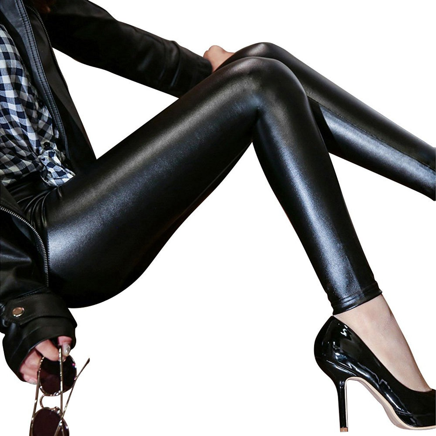 cd8bd3acd3e Amazon.com: Women's Stretchy Faux Leather Leggings Pants, Sexy Black High  Waisted Tights: Clothing