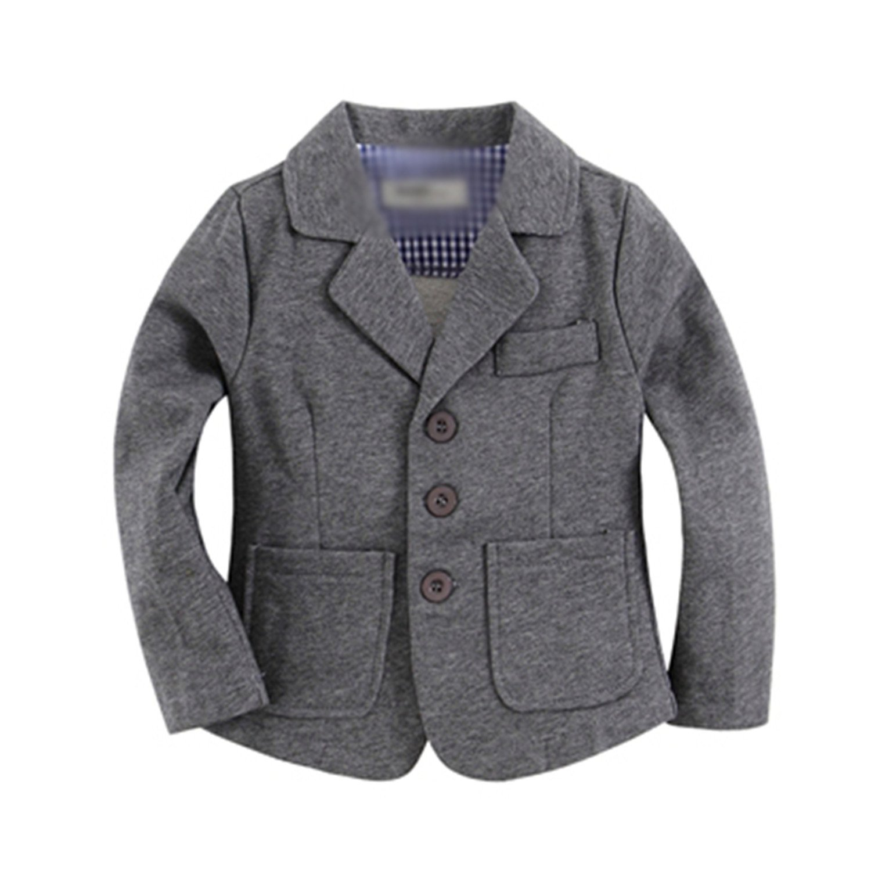 MRxcff New Arrival Knitted Cotton 100% Toddler Boy Blazer Solid Grey