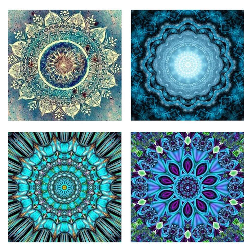 Lomsarsh 4PCS 5D Diamond Draw Round Diamond5D Embroidery Paintings Rhinestone Pasted DIY Diamond Painting Cross Stitch
