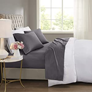 Beautyrest BR 600 TC Cooling Cotton Blend Solid Sheet 16 Inch Deep Pocket Hypoallergenic, All Season, Soft Bedding-Set, Matching Pillow Case, King, Charcoal 4 Piece