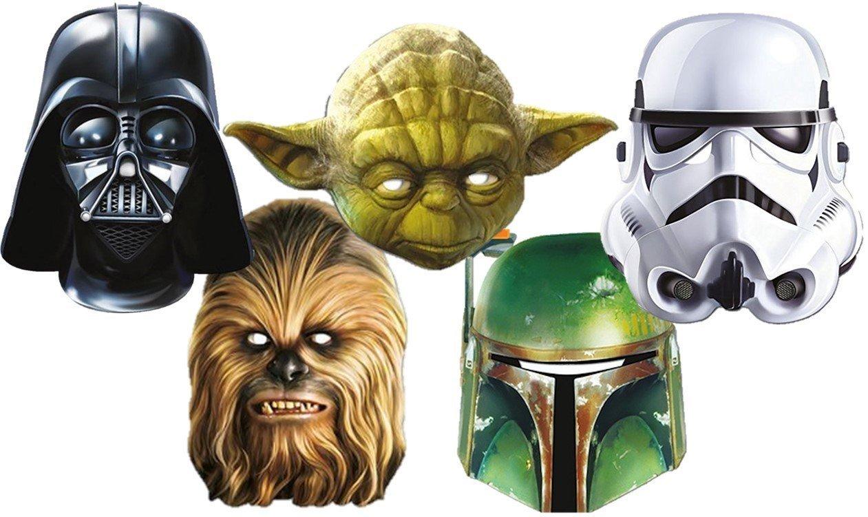 star Wars 1D Masken aus Carton Im Fünferpack - Darth Vader-Yoda ...