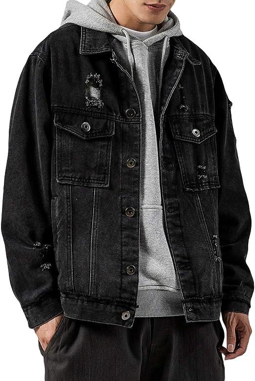 FOMANSH メンズ デニムジャケット Gジャン ベーシック ダメージ加工 ウォッシュ カジュアル 春 秋 大きいサイズ