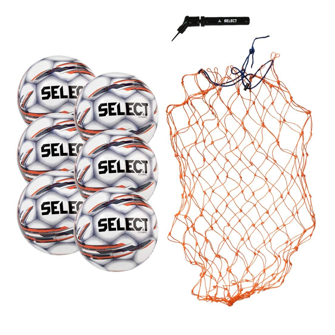 Select Campo Soccer Ball Package - Pack of 6 Soccer Balls with Ball Net and Hand Pump, White, 3