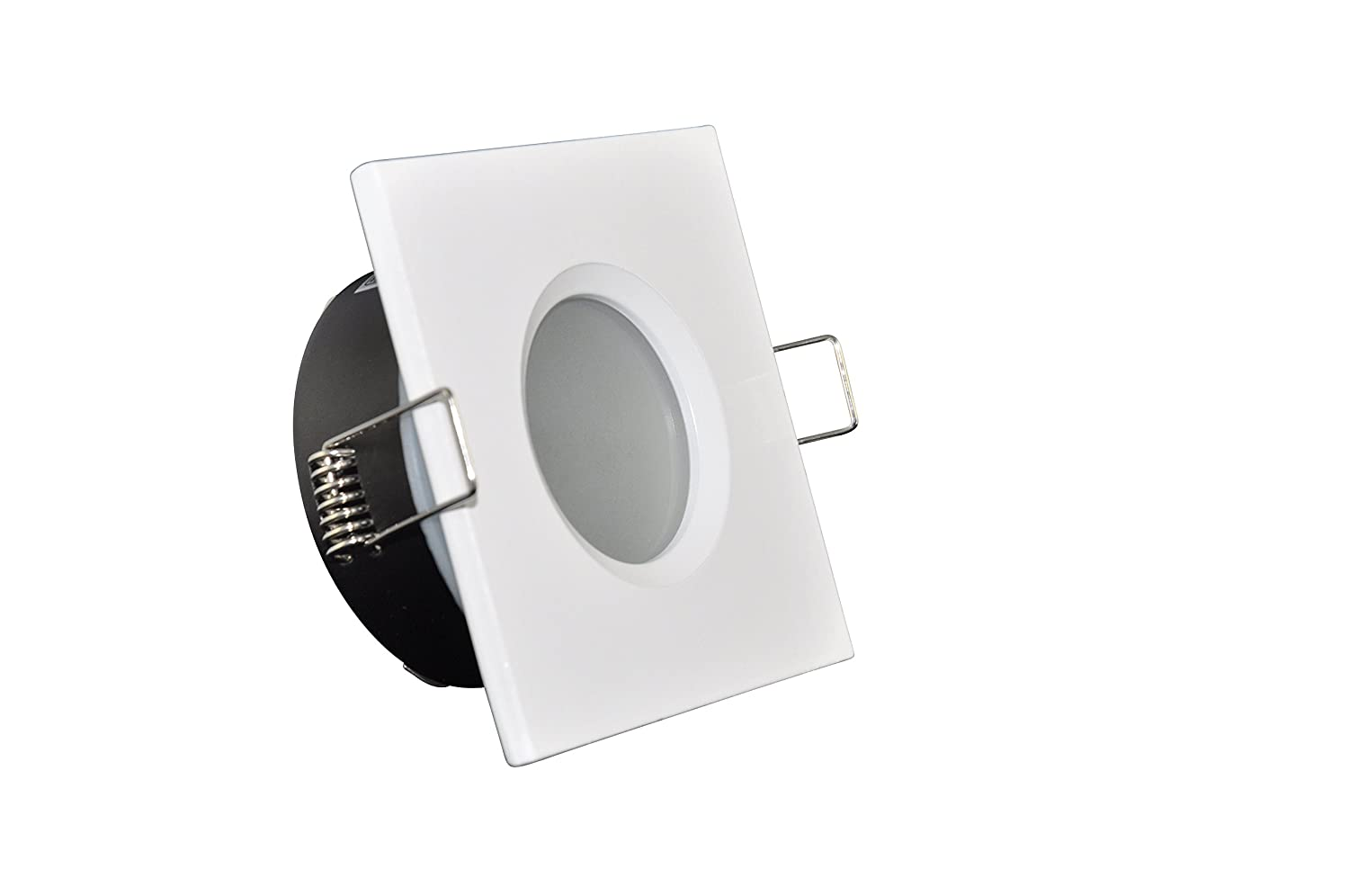 Einabu Bathroom Light IP65 Square (Bulb Not Included) | White | 12 V MR16 230 V GU10 Socket Included Suitable for Halogen and LED Lamp 49 – 51 mm | Waterproof | Rustproof LED-Traumleuchten Hausmarke TIP-2-W