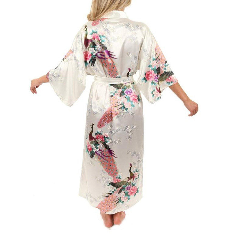 Samuel Roussel Women Satin Kimono Robes Long Nightgown Vintage Printed Night Gown at Amazon Womens Clothing store: