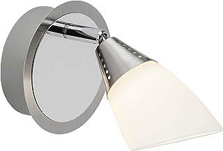 Brilliant opalina LED Faretto da parete, 1X 4W LED integrato, 1X 320Lumen, 3000K Bianco caldo, metallo/vetro, ferro cromato/bianco, 7.1x 12x 12cm, g07110/77