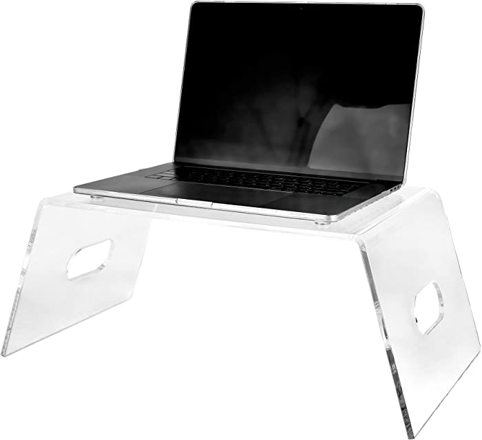 AdirHome Premium Acrylic Monitor Stand - Clear Laptop Riser, Desk Organizer & Under Storage - Portable Lap Top/TV Screen Tray & Mobile Drawing Table for Bed & Couch