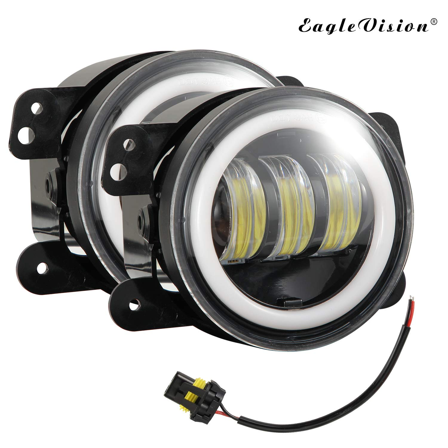 Elliot Jonah 2PCS LED car Motorcycle Headlights 4 inch Fog lamp Drive lamp Auxiliary lamp with Bracket Adapter Ring for Jeep Wrangler Harley