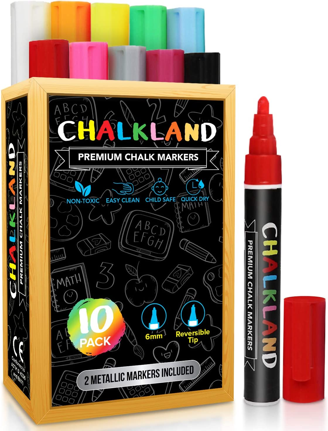 CHALKLAND Set of 10 Vibrant + Metallic Blackboard Markers - Liquid Chalk Markers for Chalkboard Signs - Non-Toxic Easy to Clean Chalkboard Pens - Car Window Markers - Chalk Marker - Chalk Pen : Office Products