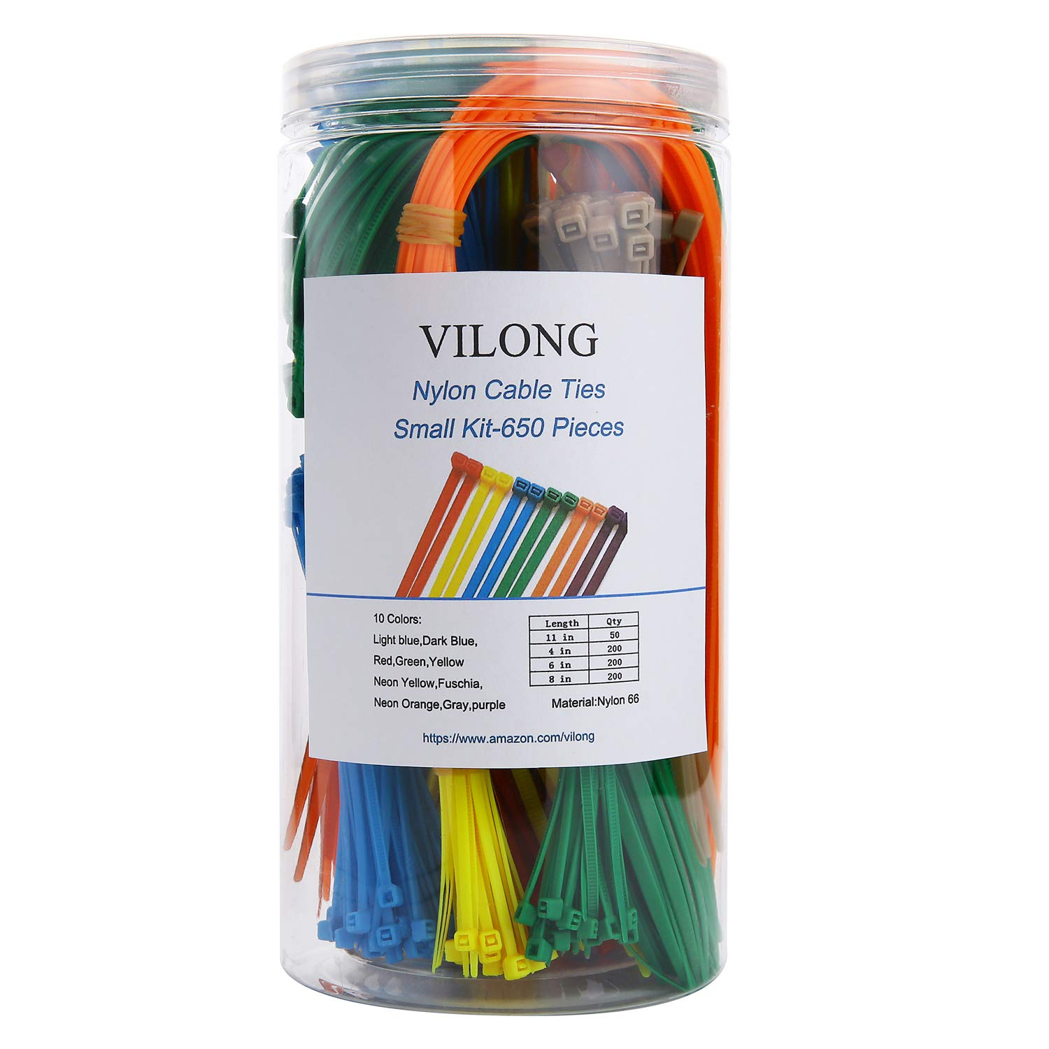 Nylon Zip Cable Tie Kit,Multi-Purpose Self-Locking Cable Ties Wire Tie Wraps - 650 Pieces (Combo Pack)- Multi Color,Assorted Lengths 4'', 6'', 8'', 11'' (45-LB Strength)