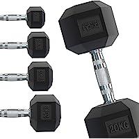 Body Revolution Hex Dumbbells - Rubber omhulde Home Gym zeshoekige gietijzeren hand halters Workout gewichten - Range…
