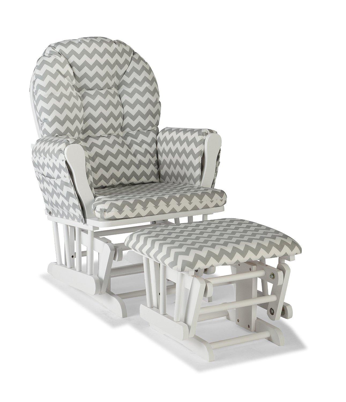 Premium Nursery Glider and Ottoman Chair Rocker Storkcraft Set in Grey and White Stork Craft