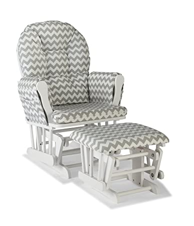 sale retailer ca3d0 196a1 Premium Nursery Glider and Ottoman Chair Rocker Storkcraft Set in Grey and  White