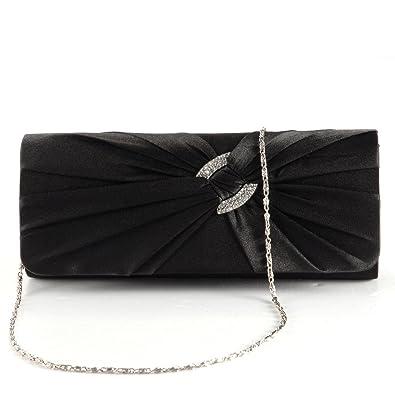 Gut Damen Clutch Satin Handtasche Brauttasche Elegante Abendtasche Schwarz Kleidung & Accessoires