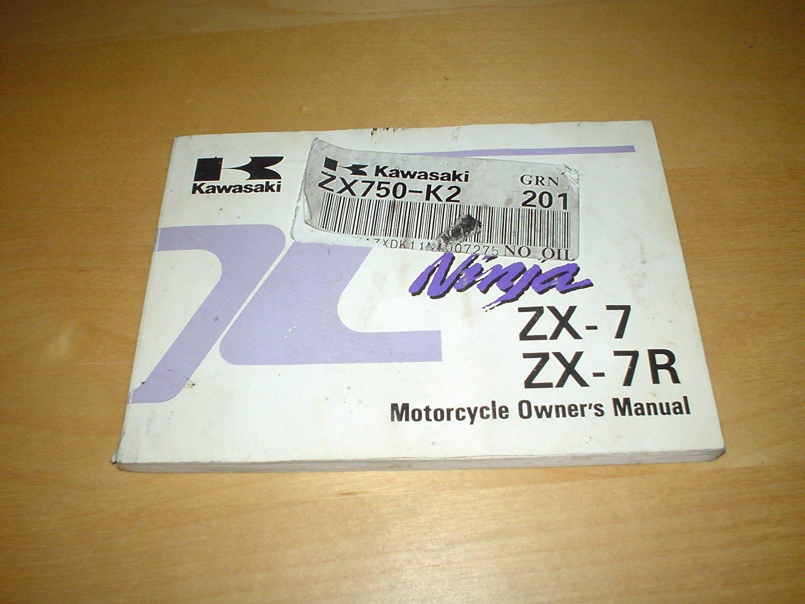 Kawasaki Motorcycle Ninja Zx 7r 7 Zx7r Zx7 Zx750 750 J2 K2 Wiring Diagram Owners Handbook Manual Bike Hand Book Honda Books