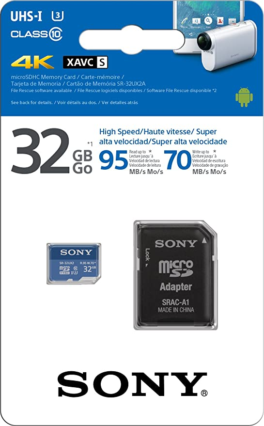 Sony SR-64UX2A/LT High Speed 64GB Class 10 U3 Micro SDXC UHS-I Memory Card up tp 95MB/s with Adapter