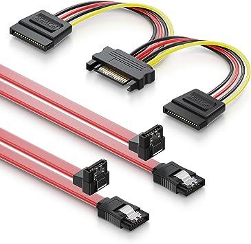 deleyCON Juego de 2X Cables SATA III con Enchufe 90° + Cable ...