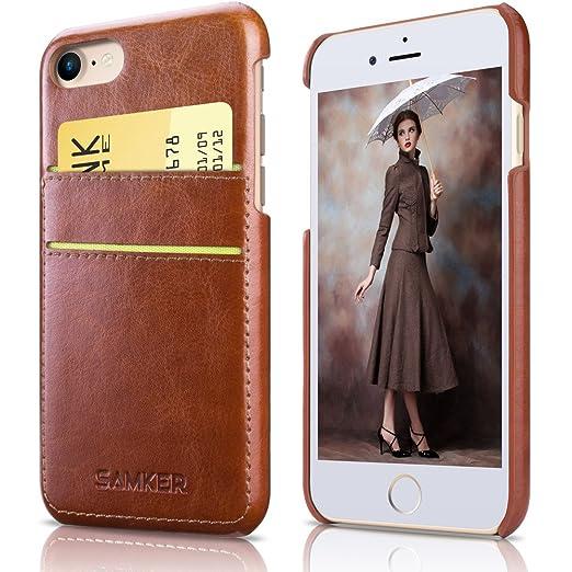3 opinioni per iPhone 7 Caso,SAMKER Tasca Carta Custodia [Ultra Sottile] Ibrido [Cuoio e Dura
