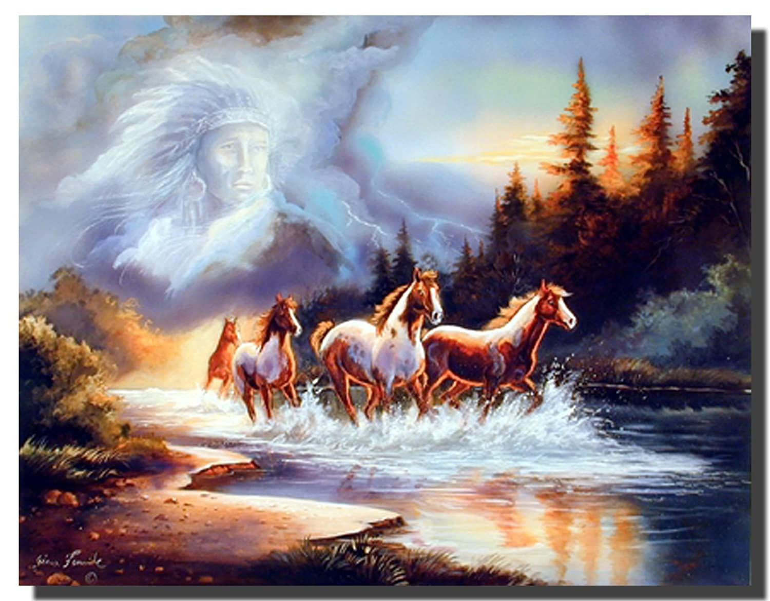 amazon com horse runs in lake with indian spirit wall decor art